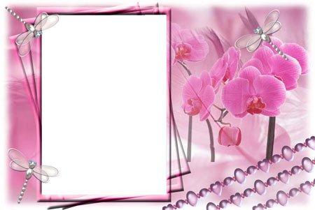 В формате psd нежная розовая рамка в