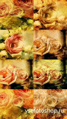 Bouquet of Roses Antique Textures JPG Files