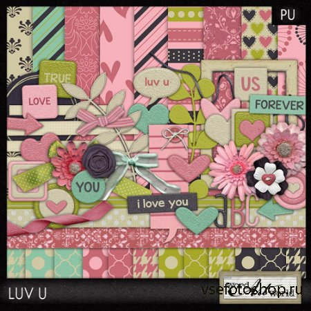 Scrap Set - Luv U PNG and JPG Files