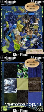 Scrap - Blue Flame PNG and JPG Files