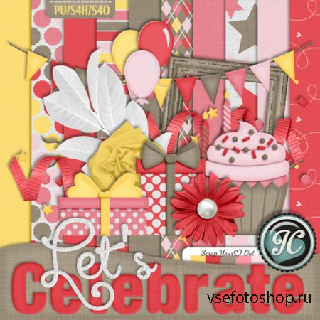 Scrap - Lets Celebrate Kit PNG and JPG FIles