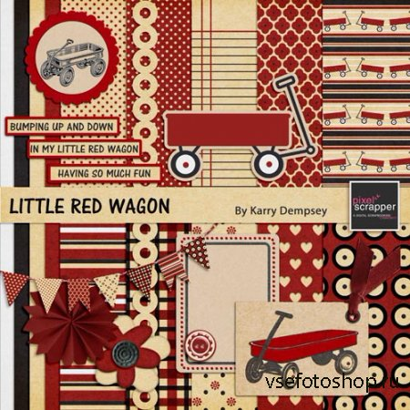 Scrap - Little Red Wagon PNG and JPG