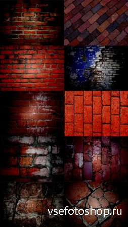 Brick Wall Texture in Red Style Set 2